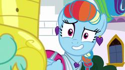 Size: 1920x1080   Tagged: safe, screencap, rainbow dash, zephyr breeze, pony, sparkle's seven, grin, megaradash, nervous, nervous grin, rainbow dash always dresses in style, smiling