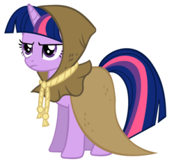 Size: 900x837 | Tagged: safe, artist:iamthegreatlyra, clover the clever, twilight sparkle, pony, unicorn, hearth's warming eve (episode), cloak, clothes, female, frown, mare, simple background, solo, transparent background, unicorn twilight, vector