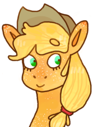 Size: 387x520 | Tagged: applejack, applejack's hat, artist:foxumbrella, beanbrows, bust, cowboy hat, eyebrows, eyebrows visible through hair, female, freckles, hat, mare, pony, safe, simple background, smiling, solo, transparent background