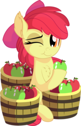 Size: 5245x8203 | Tagged: absurd res, apple, apple bloom, apple bloom's bow, artist:cyanlightning, bow, bucket, chest fluff, cute, ear fluff, earth pony, eating, female, filly, food, hair bow, hat, one eye closed, pony, precious, safe, simple background, sitting, solo, .svg available, transparent background, vector