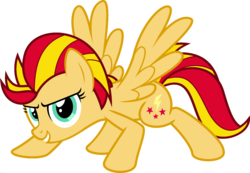 Size: 1920x1328 | Tagged: crouching, edit, female, fusion, lightning dust, mare, palette swap, pegasus, pony, ponyar fusion, recolor, safe, simple background, spread wings, sunset shimmer, transparent background, vector, vector edit, wings