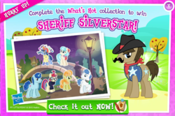 Size: 1042x690 | Tagged: safe, coco pommel, junebug, moondancer, orion, party favor, sheriff silverstar, shooting star (character), earth pony, pony, unicorn, advertisement, background pony, bridge, collection, cowboy hat, facial hair, female, gameloft, hat, male, mare, moustache, official, planetary bob, stallion