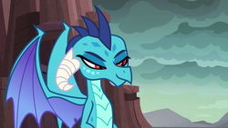 Size: 1920x1080 | Tagged: dragon, dragoness, female, mid-blink screencap, princess ember, safe, screencap, solo, spoiler:s09e03, uprooted