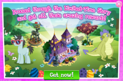 Size: 1037x686 | Tagged: advertisement, dragon, dragonsneeze, father knows beast, flower, gameloft, limited-time story, male, neon lights, official, pony, rising star, safe, sludge (dragon), stallion, statue, tree, unicorn
