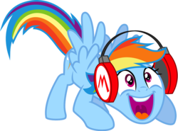 Size: 1024x756 | Tagged: artist:4-chap, faic, female, happy, headphones, mario, pegasus, pony, rainbow dash, requested art, safe, simple background, smiling, solo, spread wings, transparent background, vector, wide smile, wings