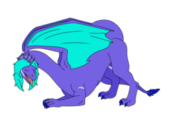 Size: 1476x1039 | Tagged: artist:linedraweer, background removed, bent over, commission, dragon, dragon oc, oc, oc:jade, oc only, safe, scar, simple background, solo, tail, transparent background, wings
