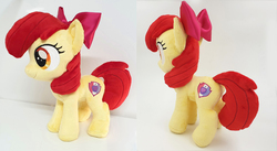 Size: 2708x1484   Tagged: safe, artist:epicrainbowcrafts, apple bloom, earth pony, pony, bow, commission, cutie mark, female, filly, irl, photo, plushie, solo, the cmc's cutie marks