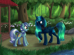Size: 3000x2250 | Tagged: alicorn, alicorn oc, artist:sirzi, colored hooves, female, forest, forest background, garden, grass, lyra heartstrings, mare, oc, oc:princess perlen, pony, raised hoof, river, safe, tree, unicorn, water