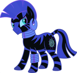 Size: 1920x1810 | Tagged: ear piercing, earring, edit, female, fusion, jewelry, leg rings, mare, neck rings, nightmare moon, palette swap, piercing, ponyar fusion, recolor, safe, simple background, solo, transparent background, vector, vector edit, zebra, zecora