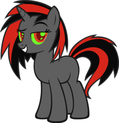 Size: 1920x1988 | Tagged: safe, edit, vector edit, dj pon-3, king sombra, vinyl scratch, pony, unicorn, ponyar fusion, colored sclera, female, fusion, green sclera, mare, palette swap, raised eyebrow, recolor, red eyes, simple background, solo, transparent background, vector
