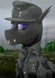 Size: 1600x2258 | Tagged: safe, artist:richmay, oc, oc only, changeling, equestria at war mod, army, bust, cap, changeling oc, cigarette, clothes, commission, hat, military, portrait, purple changeling, smoking, uniform, war, wehrmacht, world war ii