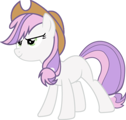 Size: 1920x1823 | Tagged: applejack, applejack's hat, cowboy hat, determined, earth pony, edit, female, fusion, hat, mare, palette swap, pony, ponyar fusion, recolor, safe, simple background, solo, sweetie belle, transparent background, vector, vector edit