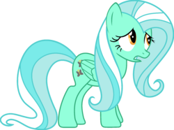 Size: 1920x1427 | Tagged: edit, female, fluttershy, fusion, lyra heartstrings, mare, open mouth, palette swap, pegasus, pony, ponyar fusion, recolor, sad, safe, simple background, solo, transparent background, vector, vector edit