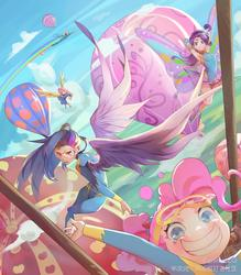 Size: 3066x3508 | Tagged: safe, artist:animesoul, fluttershy, pinkie pie, rainbow dash, rarity, twilight sparkle, alicorn, human, armpits, beautiful, clothes, cute, diapinkes, female, glimmer wings, goggles, hot air balloon, humanized, looking at you, miniskirt, ponytail, skirt, skirt lift, smiling, twilight sparkle (alicorn), twinkling balloon, uniform, winged humanization, wings, wonderbolts uniform, wondershy