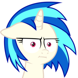 Size: 3500x3500 | Tagged: safe, artist:yaaaco, edit, editor:iraven4522, dj pon-3, vinyl scratch, pony, marks for effort, floppy ears, i mean i see, photo, seriously, simple background, solo, transparent background, unamused, vinyl is not amused