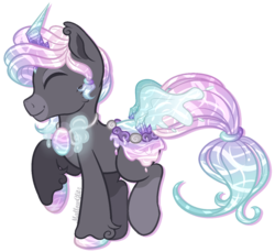 Size: 886x813 | Tagged: artist:mallowglitz, eyes closed, male, oc, oc:azure aura, original species, pond pony, safe, simple background, solo, transparent background