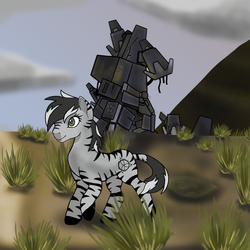 Size: 2000x2000   Tagged: safe, artist:devorierdeos, oc, oc only, oc:ionora, zebra, fallout equestria, cloudship, enclave raptor, female, grand pegasus enclave, hooves, mare, solo, zebra oc
