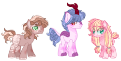 Size: 5566x2816 | Tagged: artist:kurosawakuro, base used, beanbrows, blank flank, earth pony, eyebrows, eye clipping through hair, female, hybrid, interspecies offspring, kirin hybrid, magical gay spawn, male, mare, offspring, parent:big macintosh, parent:maud pie, parent:mud briar, parent:queen novo, parent:rain shine, parents:macbriar, parents:macinmaud, parents:novoshine, pigtails, pony, safe, simple background, stallion, transparent background, twintails