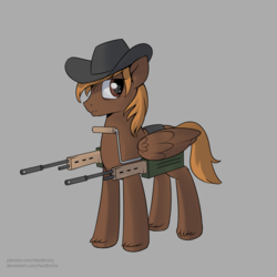 Size: 1550x1550 | Tagged: safe, artist:hardbrony, oc, oc only, oc:calamity, pegasus, pony, fallout equestria, battle saddle, cowboy hat, dashite, fanfic, fanfic art, gray background, gun, hat, hooves, male, rifle, simple background, solo, stallion, weapon, wings