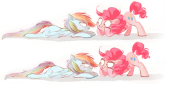 Size: 1111x578 | Tagged: artist:pinkablue, blushing, cute, earth pony, face down ass up, female, hoof on cheek, lesbian, lidded eyes, looking at each other, lying down, mare, :p, pegasus, pinkiedash, pinkie pie, pony, rainbow dash, safe, shipping, silly, simple background, smiling, sweat, tongue out, white background