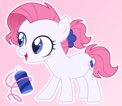 Size: 2512x2183 | Tagged: safe, artist:connorbal, oc, oc:silly string, earth pony, pony, female, filly, magical lesbian spawn, offspring, parent:pinkie pie, parent:rarity, parents:raripie, solo