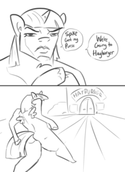 Size: 2400x3300 | Tagged: safe, artist:tjpones, twilight sparkle, alicorn, anthro, burger, dialogue, dio brando, dio walk, food, hay burger, is that a jojo reference?, jojo's bizarre adventure, lineart, meme, oh you're approaching me, solo, twilight sparkle (alicorn)