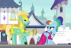 Size: 598x404   Tagged: safe, screencap, rainbow dash, zephyr breeze, pegasus, pony, sparkle's seven, armor, clothes, cropped, dress, duo, eyeshadow, female, helmet, hoof shoes, makeup, male, mare, megaradash, rainbow dash always dresses in style, raised hoof, royal guard armor, royal guard zephyr breeze, stallion, unimpressed, wings