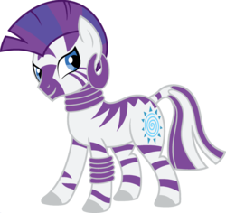 Size: 1920x1810 | Tagged: ear piercing, earring, edit, female, fusion, jewelry, leg rings, mare, neck rings, palette swap, piercing, ponyar fusion, rarity, recolor, safe, simple background, solo, transparent background, vector, vector edit, zebra, zecora