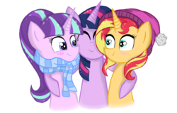 Size: 1404x892 | Tagged: artist:forestheart74, clothes, hug, pony, safe, scarf, side hug, simple background, starlight glimmer, sunset shimmer, transparent background, twilight sparkle, unicorn, unicorn twilight, warm
