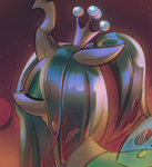 Size: 1097x1200 | Tagged: alternate hairstyle, artist:mirroredsea, bust, changeling, changeling queen, crown, cute, cutealis, eye clipping through hair, eyes closed, female, floppy ears, jewelry, ponytail, portrait, profile, queen chrysalis, regalia, safe, solo