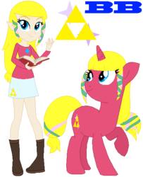 Size: 436x536 | Tagged: safe, artist:ayang888, artist:selenaede, human, hylian, pony, unicorn, equestria girls, base used, book, boots, clothes, crossover, equestria girls style, equestria girls-ified, high heel boots, high heels, nintendo, ponified, princess zelda, shoes, skyward sword, super smash bros., the legend of zelda