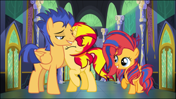 Size: 2048x1152 | Tagged: artist:3d4d, family, female, flashimmer, flash sentry, male, oc, oc:afterglow sentry, offspring, parent:flash sentry, parents:flashimmer, parent:sunset shimmer, pony, safe, shipping, straight, sunset shimmer
