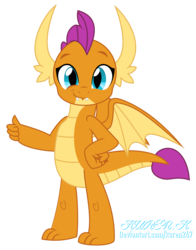 Size: 1000x1278 | Tagged: absurd res, artist:kuren247, cute, dragon, dragoness, female, hand on hip, looking at you, safe, show accurate, simple background, smiling, smirk, smolder, smolderbetes, solo, thumbs up, transparent background, vector
