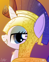 Size: 800x1000 | Tagged: armor, armorarity, artist:lennonblack, bust, cute, female, gradient background, helmet, lidded eyes, looking at you, pony, portrait, profile, raribetes, rarity, royal guard rarity, safe, smiling, solo, sparkle's seven, spoiler:s09e04, unicorn