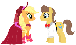 Size: 795x476   Tagged: safe, artist:selenaede, artist:unicornsmile, applejack, caramel, earth pony, pony, base used, boots, carajack, clothes, cowboy boots, cowboy hat, dress, female, hat, high heel boots, high heels, male, marriage, pink dress, shipping, shoes, straight, wedding
