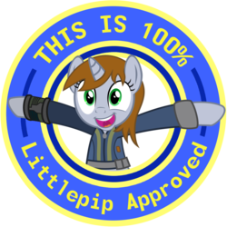 Size: 1280x1280 | Tagged: safe, artist:brisineo, edit, doomie, oc, oc only, oc:littlepip, pony, unicorn, fallout equestria, approved, clothes, fanfic, fanfic art, female, hooves, horn, looking at you, mare, open mouth, pipbuck, seal of approval, simple background, smiling, solo, teeth, text, transparent background, vault suit, vector