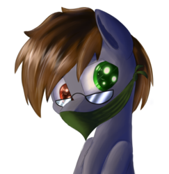 Size: 2430x2500 | Tagged: artist:sweetbrew, bandana, bat pony, bust, glasses, heterochromia, oc, oc only, oc:thunder mikhailov, pony, safe, simple background, solo, transparent background, useless source url