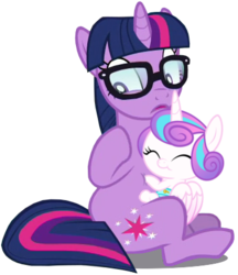 Size: 379x438 | Tagged: safe, artist:ninjashadow-x, artist:xebck, edit, edited edit, editor:slayerbvc, vector edit, princess flurry heart, sci-twi, twilight sparkle, alicorn, pony, unicorn, equestria girls, equestria girls series, spring breakdown, spoiler:eqg series (season 2), baby, baby pony, cropped, cute, daaaaaaaaaaaw, diaper, equestria girls ponified, female, filly, flurrybetes, foal, glasses, hug, looking away, mare, mistaken identity, ponified, raised hoof, simple background, sitting, transparent background, twiabetes, unicorn sci-twi, vector