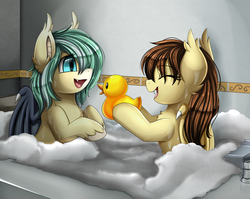 Size: 2950x2350 | Tagged: artist:pridark, bathing, bathing together, bathroom, bathtub, bat pony, bat pony oc, commission, cute, duo, eyes closed, female, hair over one eye, mare, oc, ocbetes, oc:icy breeze, oc:noctalia, oc only, open mouth, pony, rubber duck, safe, smiling, toy, water