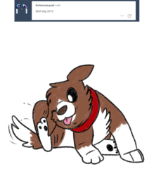 Size: 800x912 | Tagged: safe, artist:askwinonadog, winona, dog, ask winona, ask, ear scratch, fleas, one eye closed, scratching, simple background, solo, tongue out, tumblr, white background