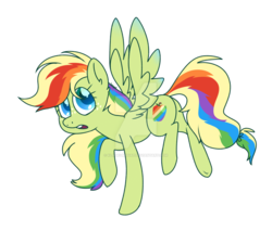 Size: 1024x874 | Tagged: artist:klngkumquat, fanfoals, female, love child, magical lesbian spawn, offspring, parent:applejack, parent:rainbow dash, parents:appledash, pegasus, pony, safe, solo
