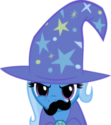 Size: 5003x5615 | Tagged: artist:triox404, boast busters, bust, cape, clothes, facial hair, female, hat, mare, moustache, pony, safe, simple background, solo, transparent background, trixie, trixie's cape, trixie's hat, unicorn, vector