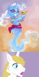 Size: 1024x2030 | Tagged: armband, artist:kp-shadowsquirrel, bluetrix, bracelet, collar, ear piercing, edit, female, floating, genie, jewelry, lamp, male, mare, necklace, piercing, pony, prince blueblood, safe, shipping, shipping domino, shoulder fluff, smiling, stallion, straight, trixie, unicorn, waistband