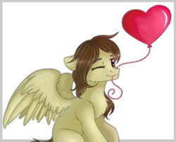 Size: 2441x1966 | Tagged: artist:renalalka, balloon, heart balloon, oc, oc only, oc:static spark, one eye closed, pegasus, pony, safe, sitting, smiling, wink