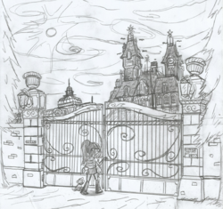 Size: 1653x1557 | Tagged: dog, equestria girls, gate, hand drawing, house sitting, mansion, monochrome, nothing will go wrong, ominous, original location, safe, sci-twi, spike, spike the dog, there was an attempt, twilight sparkle