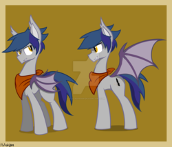 Size: 1024x882 | Tagged: artist:flylash6009, bat pony, bat pony oc, dark blue hair, fake cutie mark, grey coat, handkerchief, oc, oc:flylash, safe, smiling