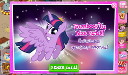 Size: 1024x600 | Tagged: alicorn, female, flying, gameloft, looking at you, mare, official, pony, safe, screencap, turkish, twilight sparkle