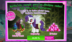 Size: 1024x600 | Tagged: advertisement, alicorn, alicornified, bat ponified, bat pony, bat pony alicorn, cape, clothes, costs real money, female, gameloft, gem, idw, idw showified, mare, night of the living apples, official, pony, race swap, raribat, raricorn, rarity, red eyes, safe, sale, solo, spoiler:comic, spoiler:comic33, spread wings, turkish, vampire, wings
