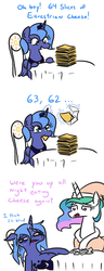Size: 462x1200 | Tagged: alicorn, artist:jargon scott, bags under eyes, bathrobe, cheese, clothes, food, glowing horn, hat, levitation, magic, messy mane, nightcap, overeating, pony, princess celestia, princess luna, robe, s1 luna, safe, simpsons did it, stuffing, sweat, telekinesis, the simpsons