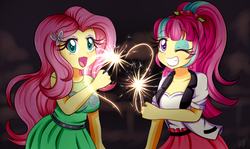 Size: 1380x820 | Tagged: anime, artist:lucy-tan, breasts, cleavage, clothes, cute, dress, duo, equestria girls, fireworks, fluttershy, grin, looking at you, one eye closed, open mouth, ponytail, safe, shyabetes, smiling, sourbetes, sour sweet, sparkler (firework), wink